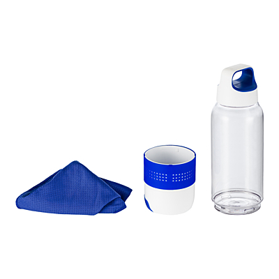 FRESHIE sports bottle with a towel for refreshment and a mobile stand,  blue