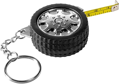 TYRE key ring with tape measure 1 m,  black/silver