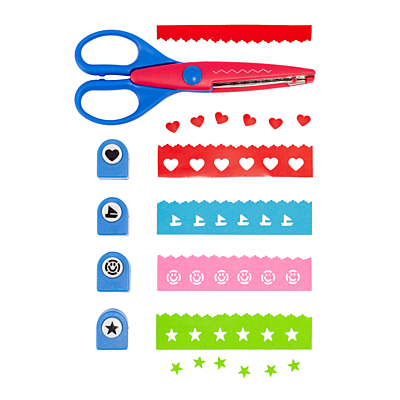 FUN set of punches and scissors,  blue