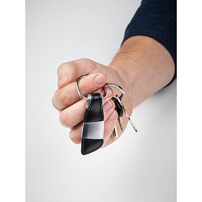 GENUINE leather key ring,  black
