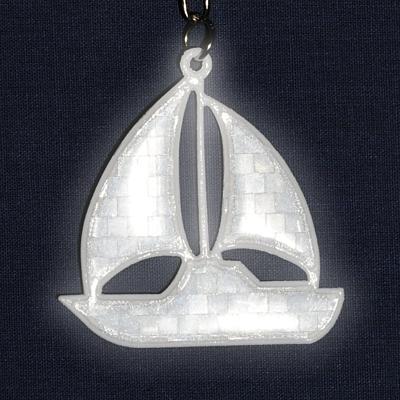 SAILING BOAT reflective key ring,  silver