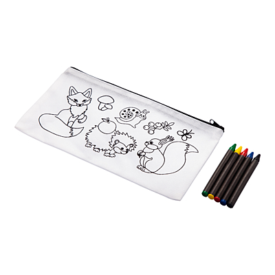 WHITE LINE pencil case with crayons, white