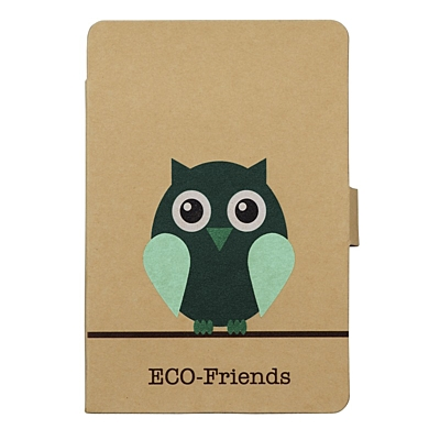 OWL NOTE set of sticky notes and notebook,  brown