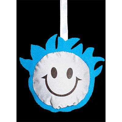 SMILING BOY reflective key ring,  blue/silver
