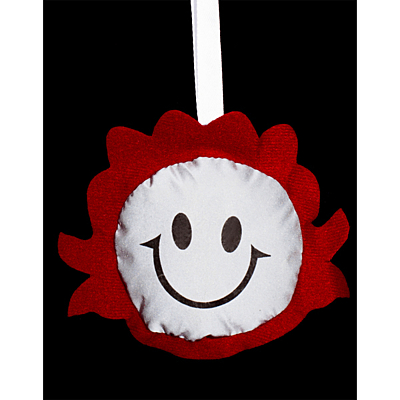 SMILING GIRL reflective key ring,  red/silver