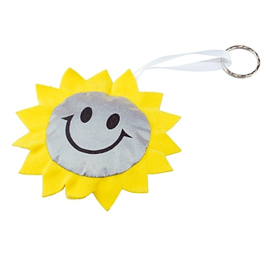 SUN reflective key ring,  yellow/silver