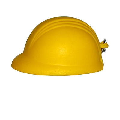 HELMET anti-stress toy key ring,  yellow