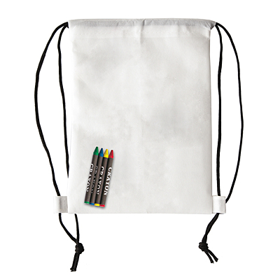 CRAYONME backpack with wax crayons,  white