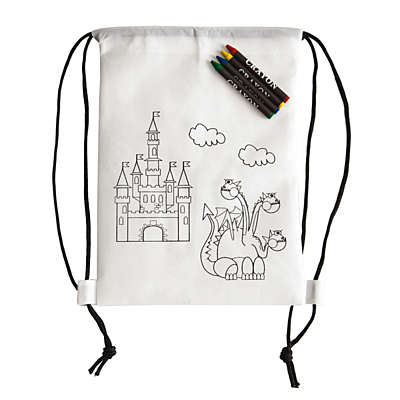 WHITE LINE BACK backpack with wax crayons,  white
