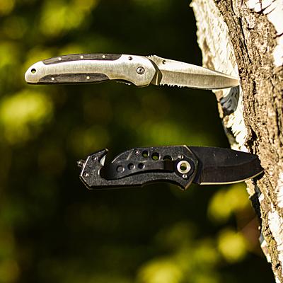 PRIME folding knife,  silver/black