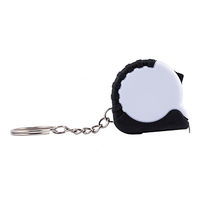 STRICT key ring with tape measure 1 m,  white