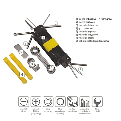 BIKE PREP wheel tools set,  black/yellow