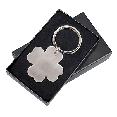 LEAF metal key ring,  silver