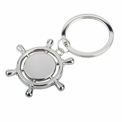 STEERING WHEEL metal key ring,  silver