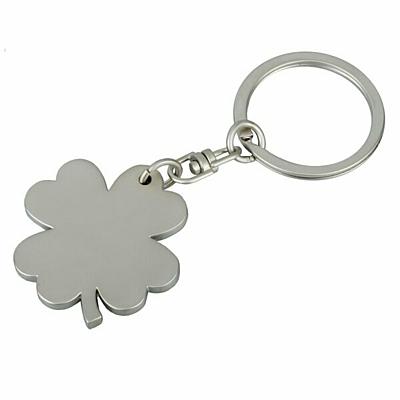 CLOVER metal key ring,  silver