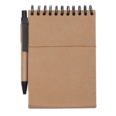 ECO PAD notebook 95x115 / 30 pages with notes and pen,  beige