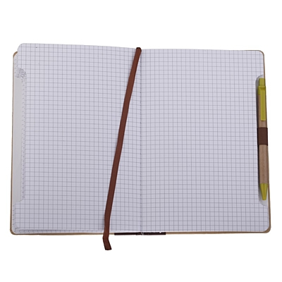 MURCIA notebook with squared sides 140x210 / 200 pages with pen,  brown