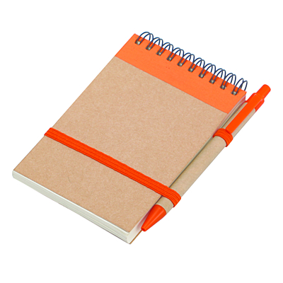 ECO RIBBON notebook with clear pages 90x140 / 140 pages with pen