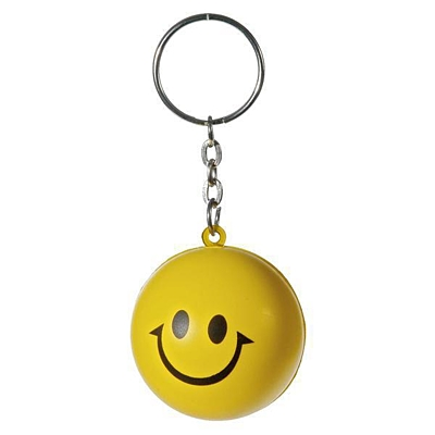 HAPPY RING anti-stress toy key ring,  yellow