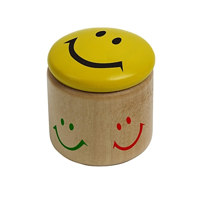 HAPPY FACE sharpener,  yellow/brown