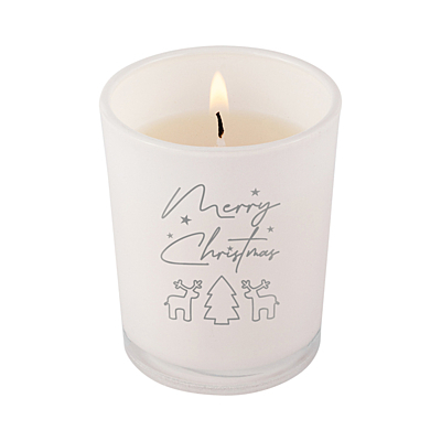 WAXMAS Candle in glass with Xmas motive, white
