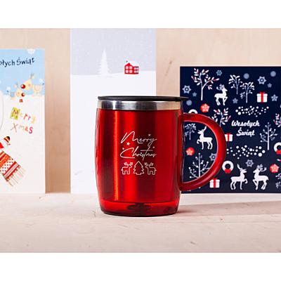 BARREL XMAS 400 ml insulated mug with Xmas motive, red